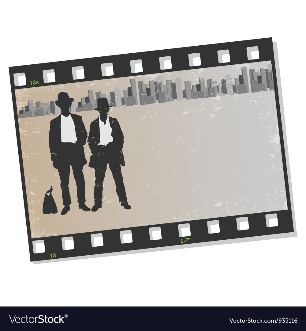 Film frame with silhouettes gangsters vector | Price: 1 Credit (USD $1)