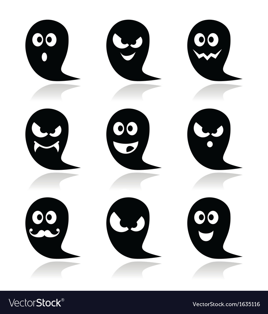 Halloween ghost icons set - scary friendly vector | Price: 1 Credit (USD $1)