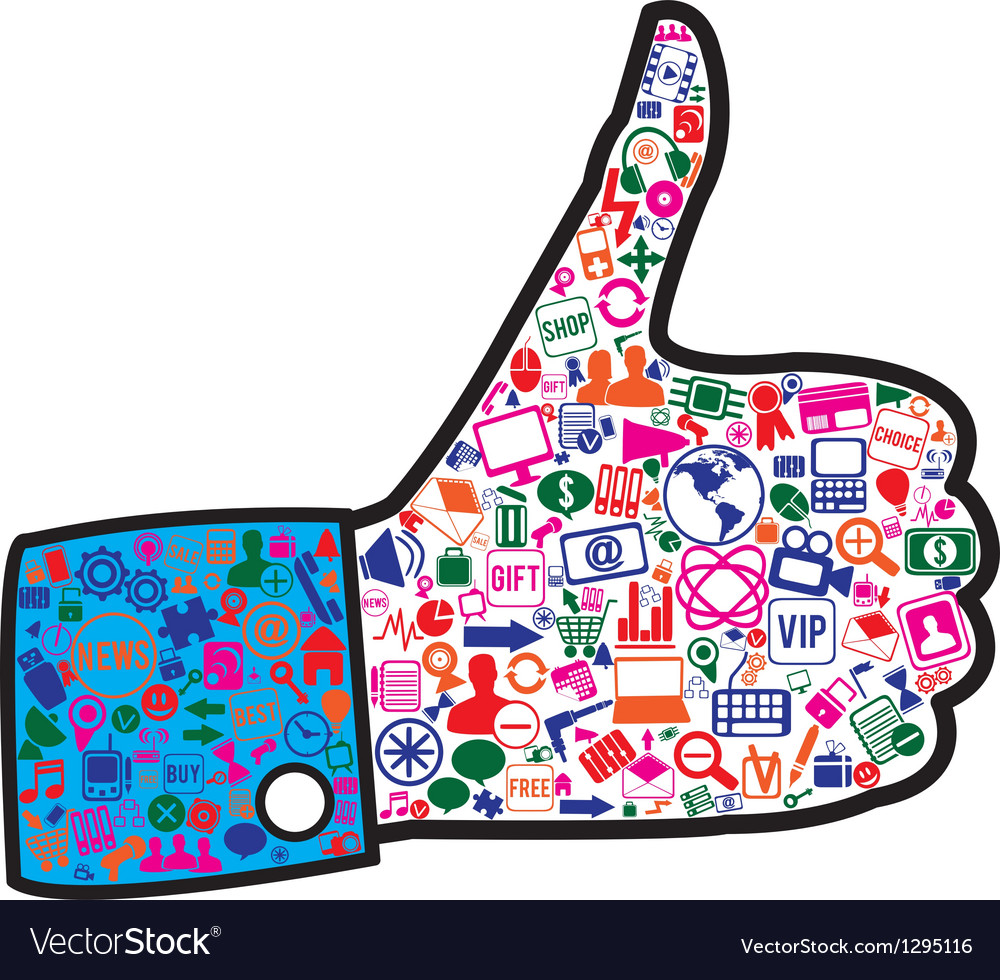 Hand with social media icons vector | Price: 1 Credit (USD $1)