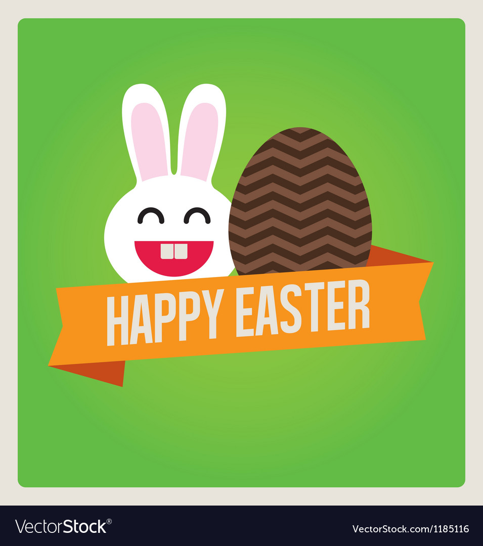 Happy easter cards bunny egg vector | Price: 1 Credit (USD $1)