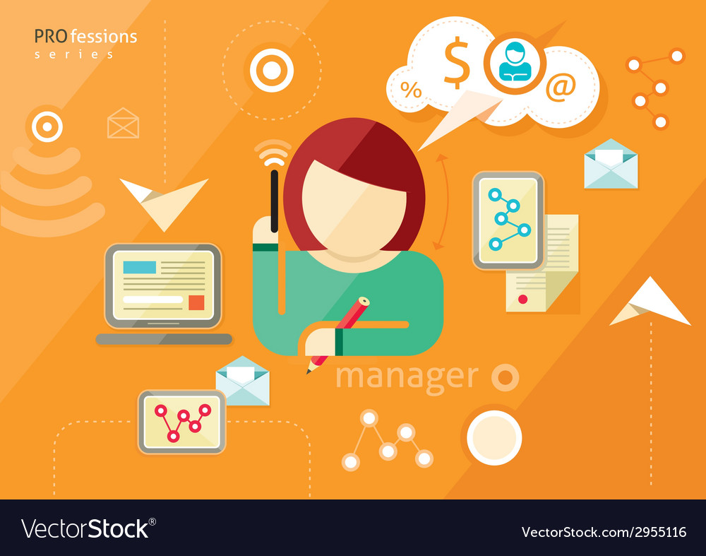 Manager profession workplace office desk vector | Price: 1 Credit (USD $1)