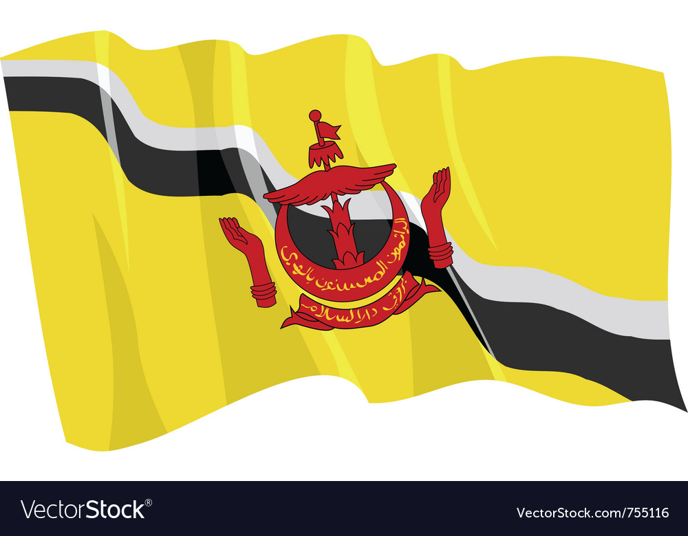 Political waving flag of brunei vector | Price: 1 Credit (USD $1)