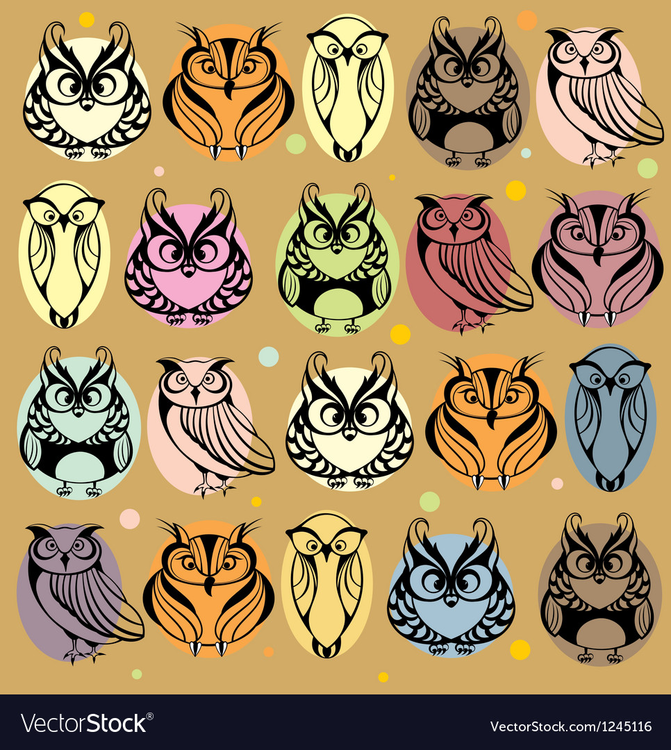 Seamless colourfull owl pattern vector | Price: 1 Credit (USD $1)