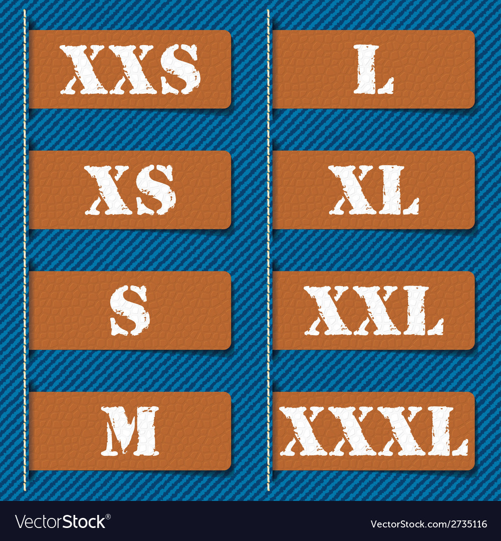 Size clothing labels - vector | Price: 1 Credit (USD $1)