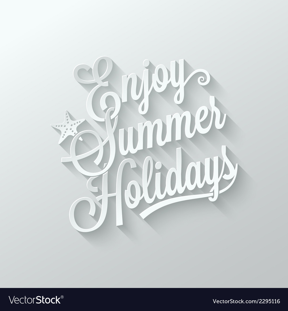 Summer holidays cut paper lettering background vector | Price: 1 Credit (USD $1)