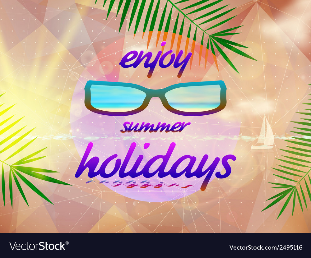 Summer sky with sun wearing sunglasses vector   Price: 1 Credit (USD $1)