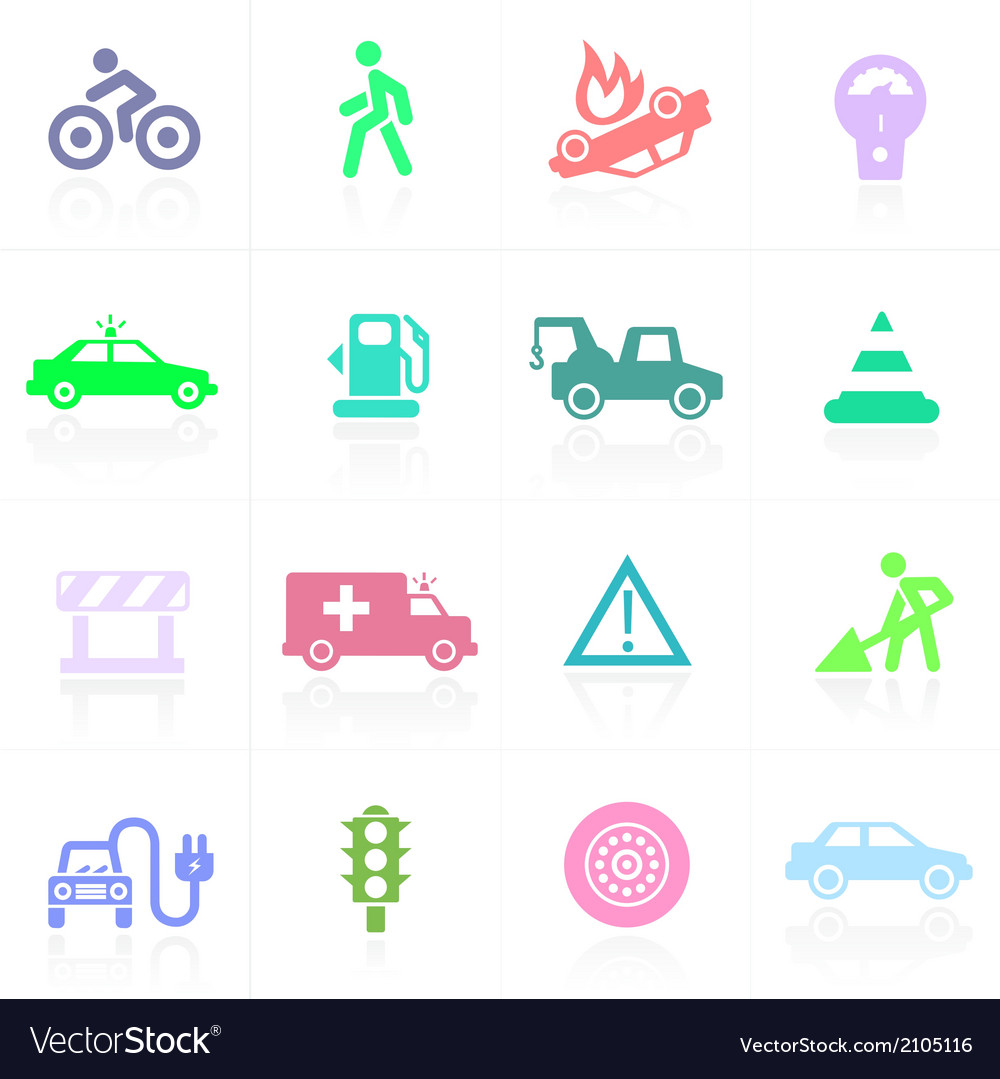 Traffic application icons in color vector | Price: 1 Credit (USD $1)