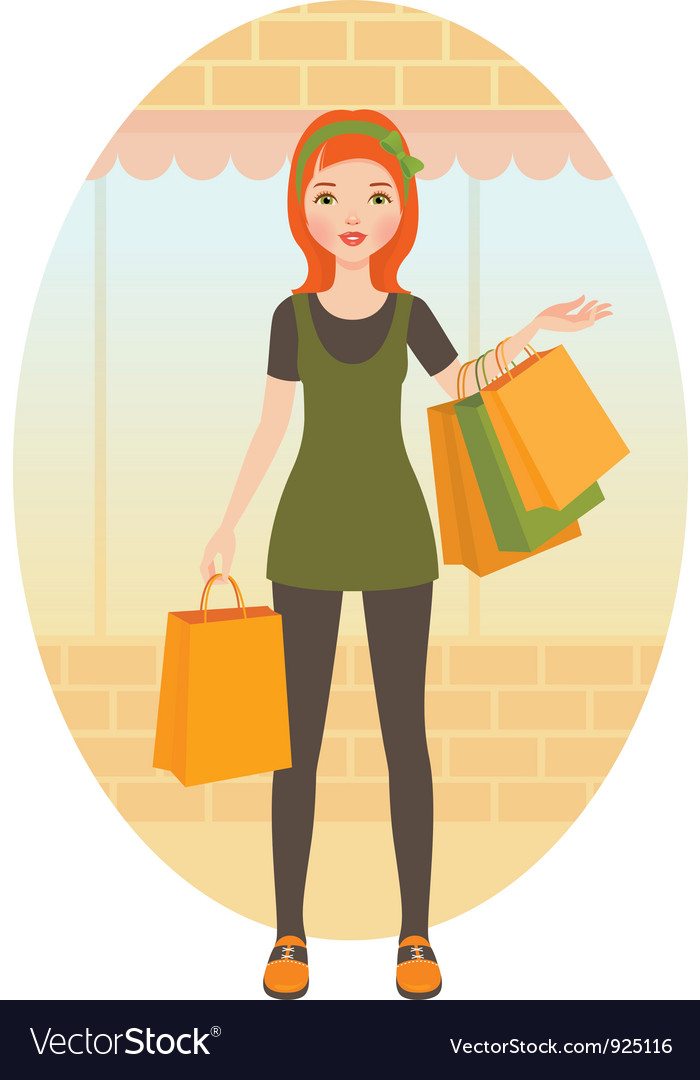 Woman with shopping vector | Price: 3 Credit (USD $3)