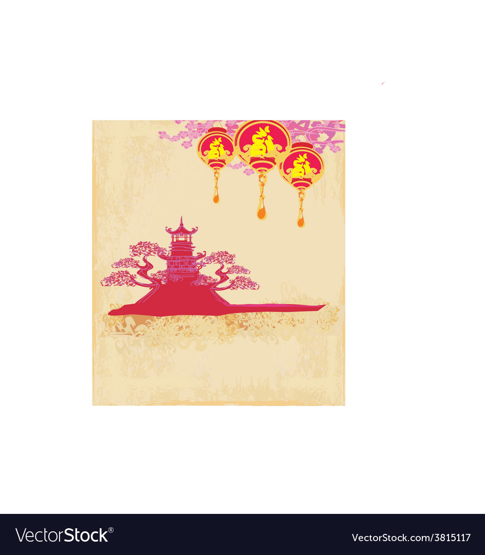 Decorative chinese landscape card vector   Price: 1 Credit (USD $1)
