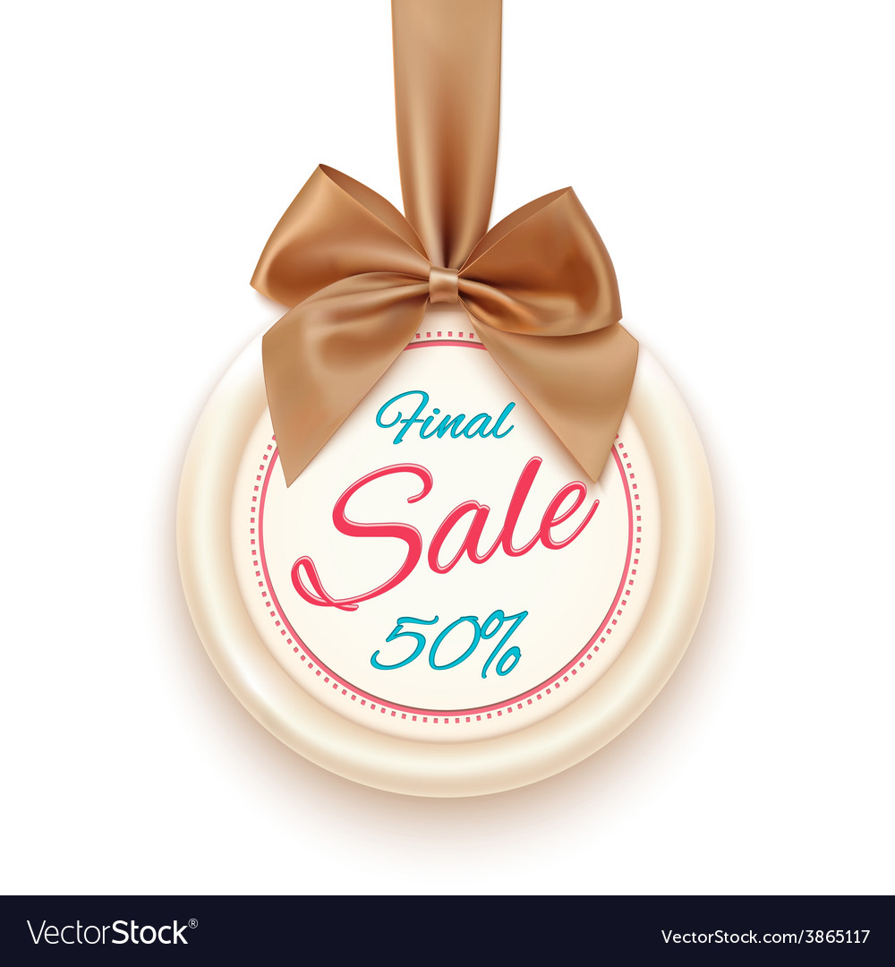 Final sale badge with golden ribbon and a bow vector | Price: 1 Credit (USD $1)