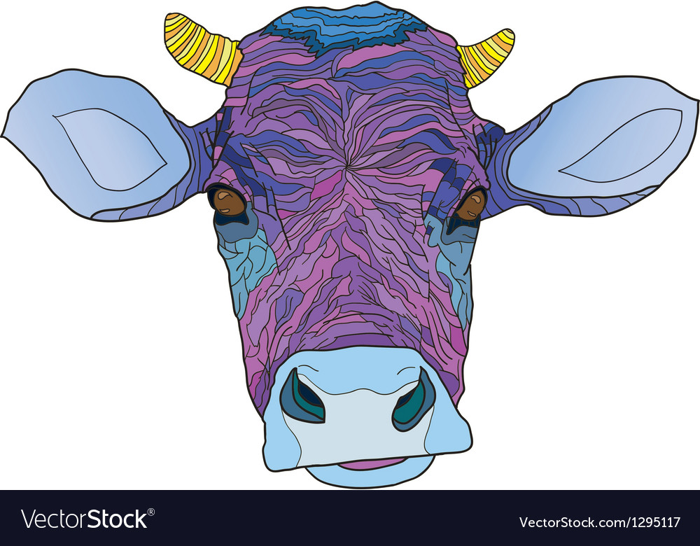 Head of the psychedelic cow vector | Price: 1 Credit (USD $1)
