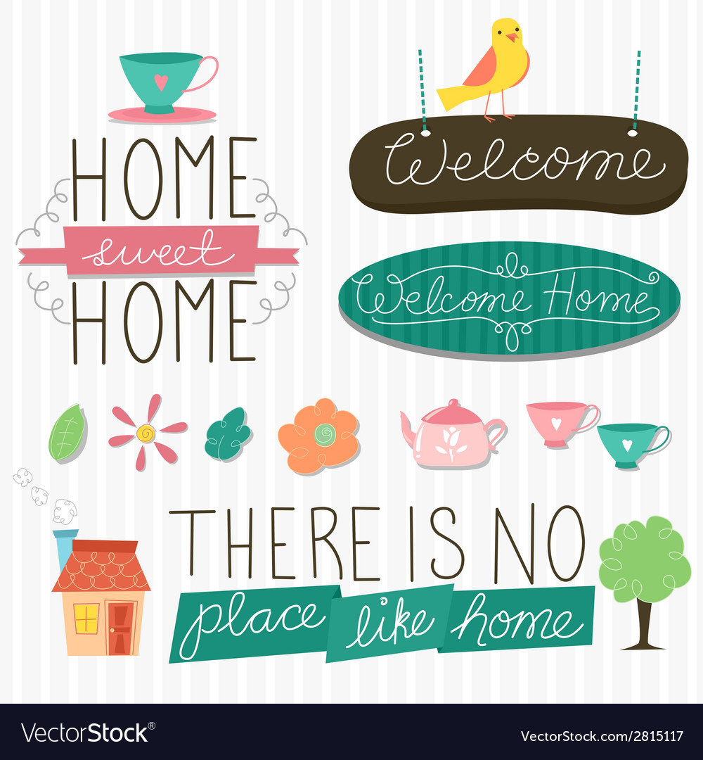 Home sweet home design elements vector | Price: 1 Credit (USD $1)