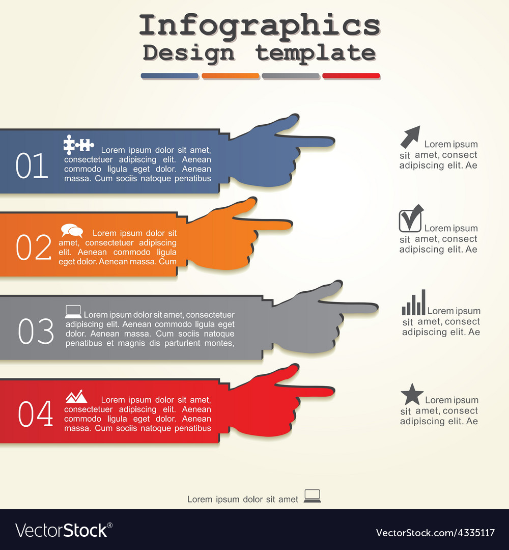 Infographic report template with hands vector | Price: 1 Credit (USD $1)