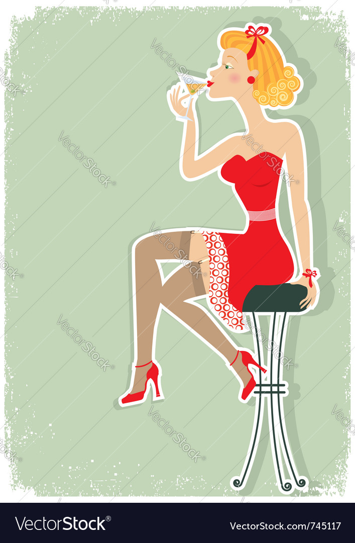 Martini in red dress vector   Price: 1 Credit (USD $1)