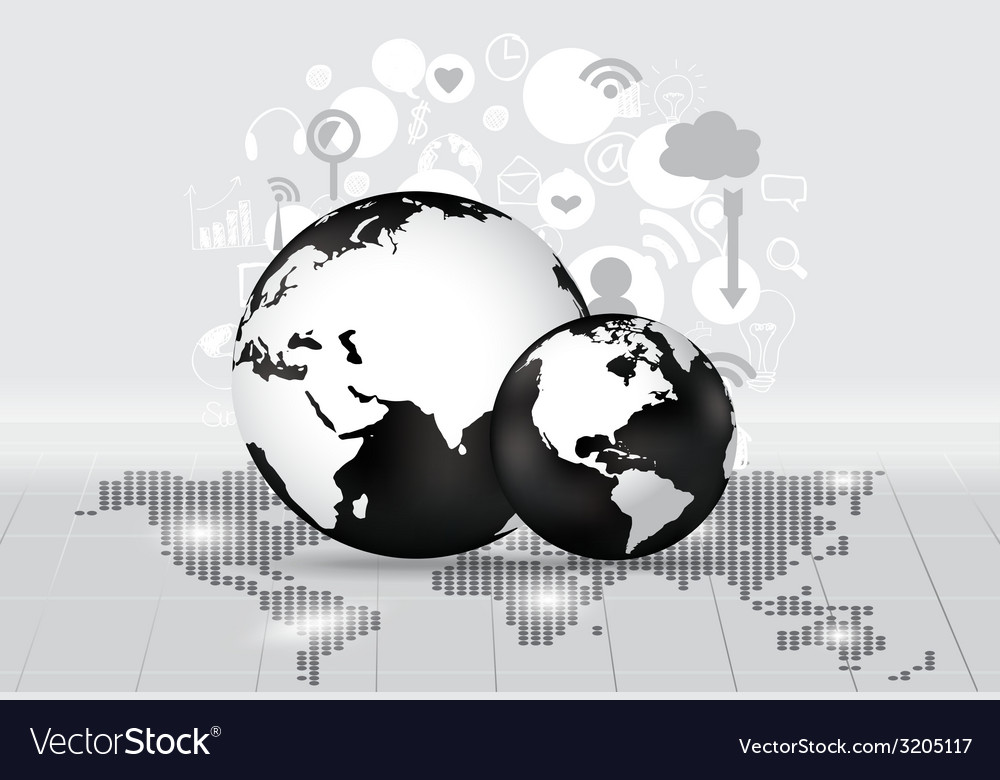 Modern globe with application icon modern template vector | Price: 1 Credit (USD $1)