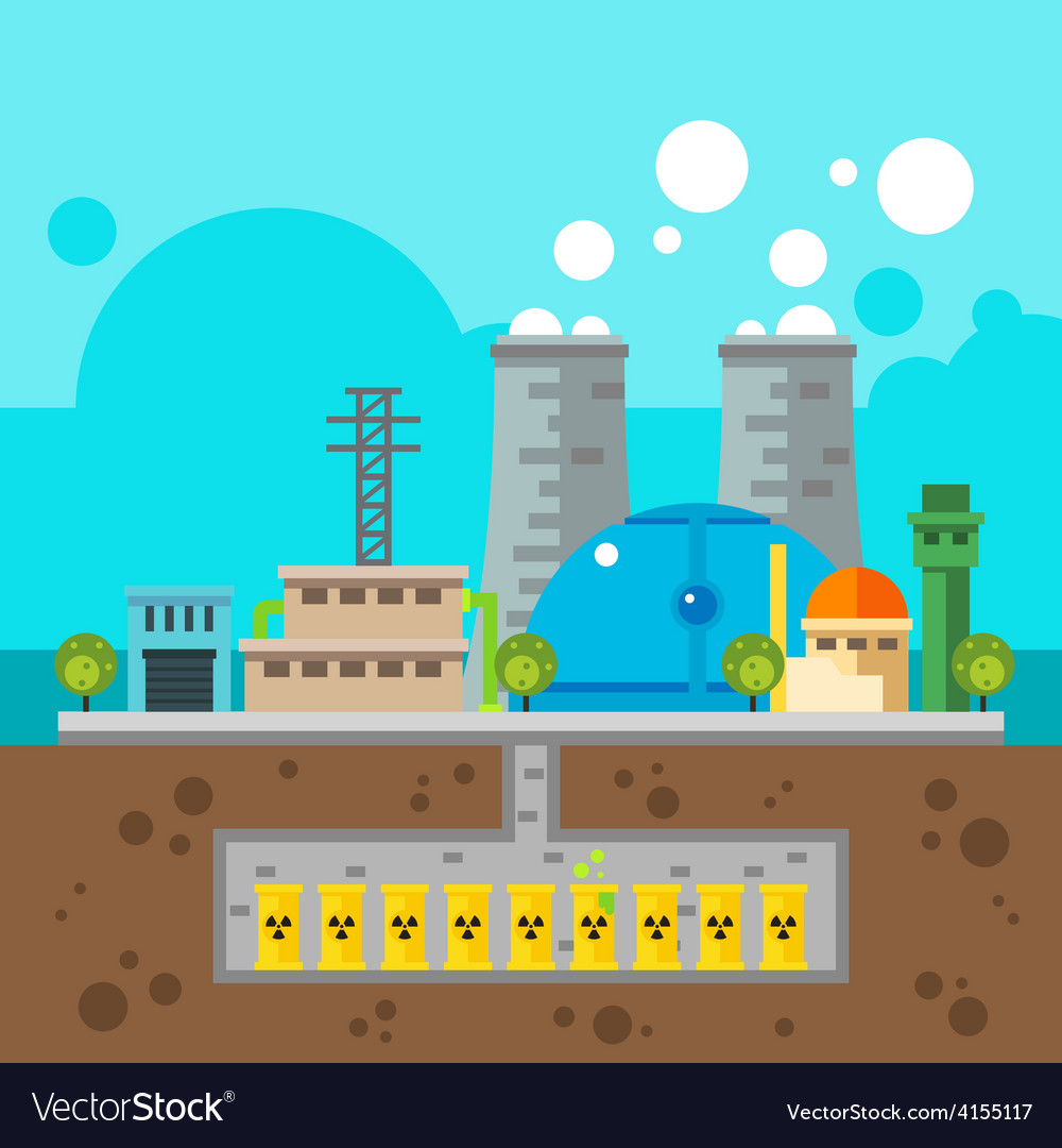 Nuclear plant and nuclear waste underground flat d vector | Price: 3 Credit (USD $3)