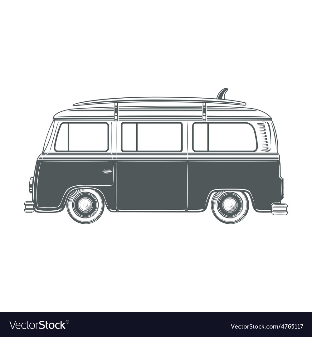 Retro vintage travel camper van with surf vector