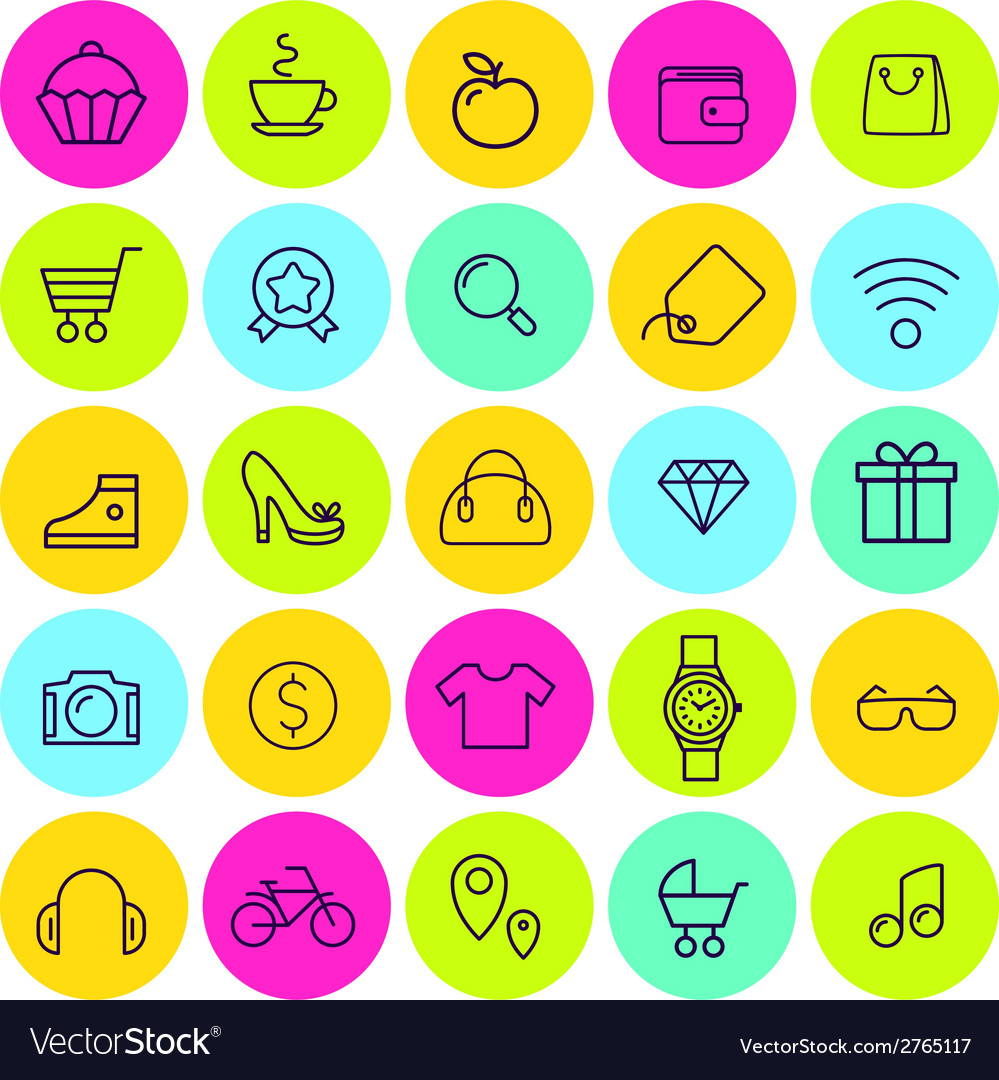 Set of icons for daily shopping vector | Price: 1 Credit (USD $1)