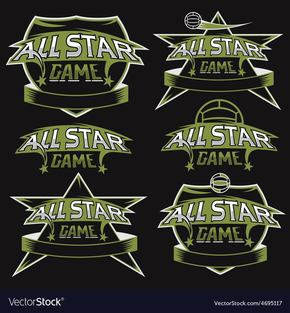 Set of vintage sports all star crests with soccer vector | Price: 1 Credit (USD $1)