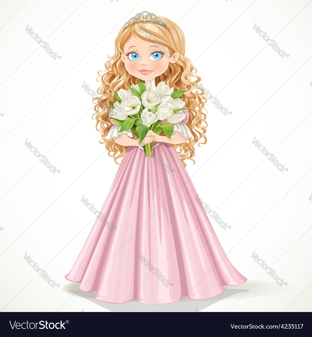 Young princess in a pink dress with tulips vector | Price: 3 Credit (USD $3)