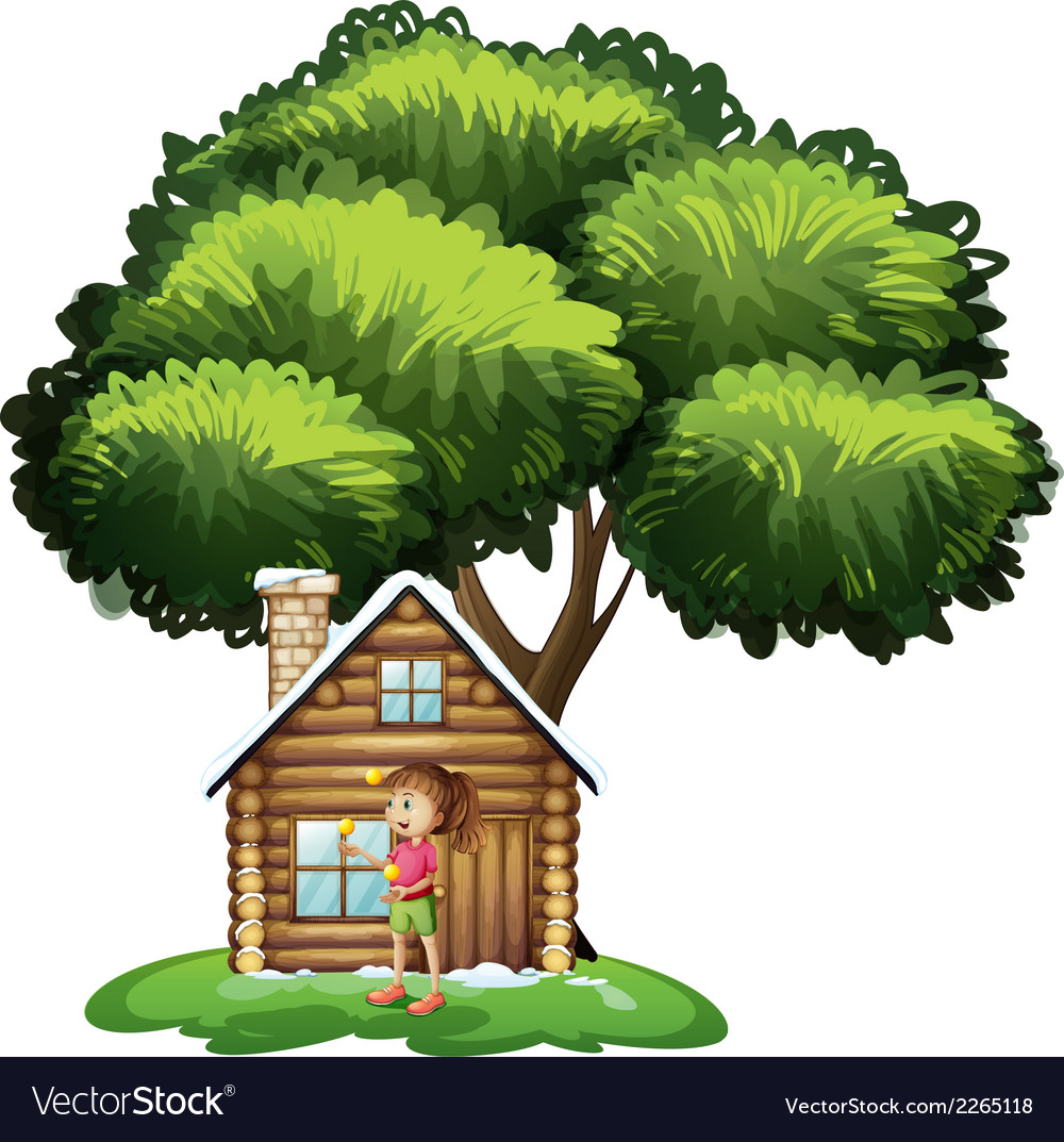A cute girl outside the wooden house under the vector | Price: 1 Credit (USD $1)