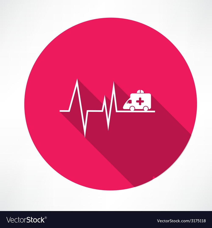 Ambulance on pulse icon vector   Price: 1 Credit (USD $1)
