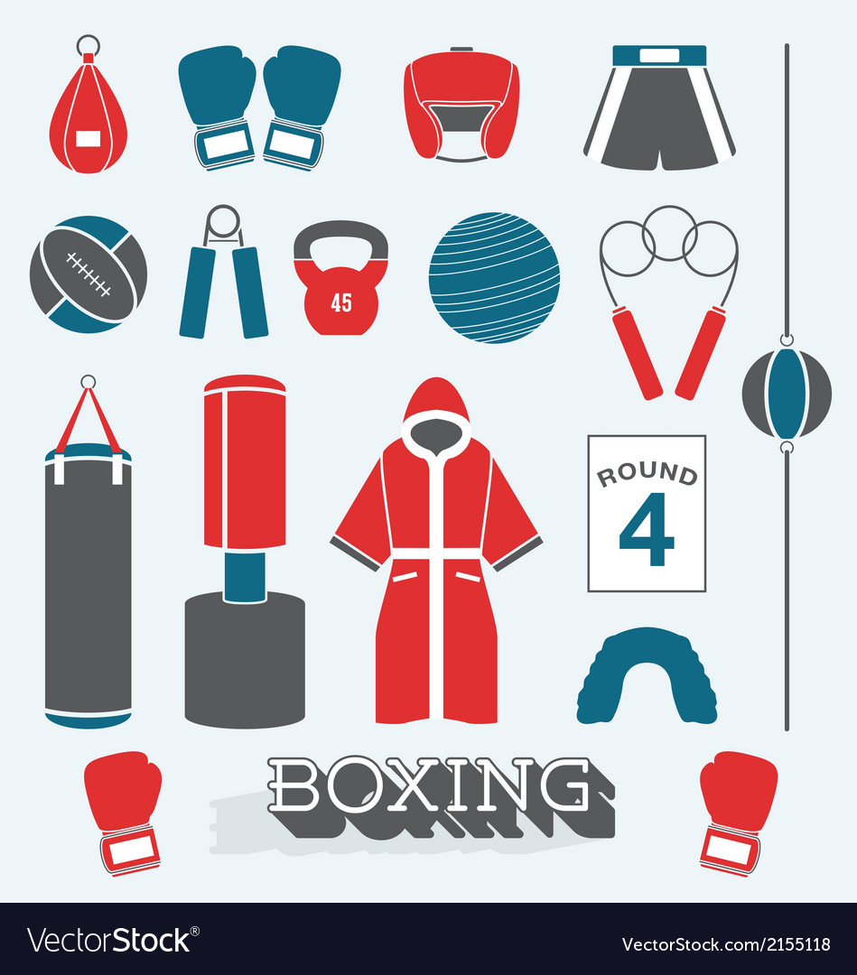 Boxing objects and icons vector | Price: 1 Credit (USD $1)