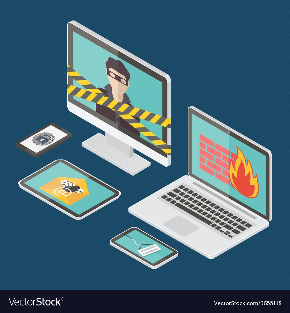 Isometric internet security vector | Price: 1 Credit (USD $1)