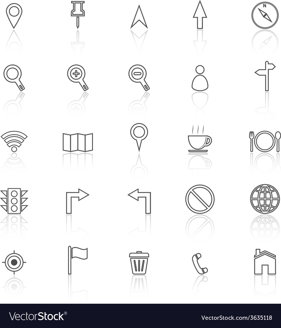 Map line icons with reflect on white background vector | Price: 1 Credit (USD $1)
