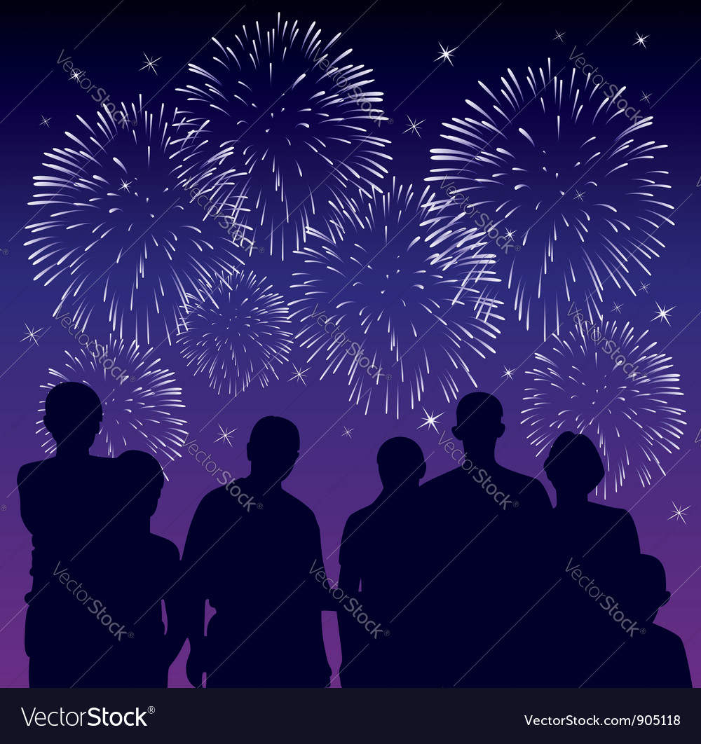 People watching fireworks vector | Price: 1 Credit (USD $1)