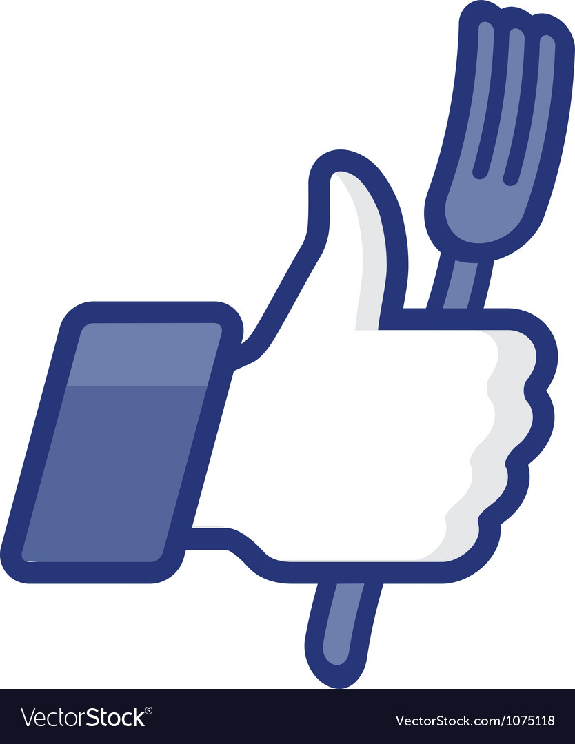 Thumbs up symbol icon with fork vector | Price: 1 Credit (USD $1)