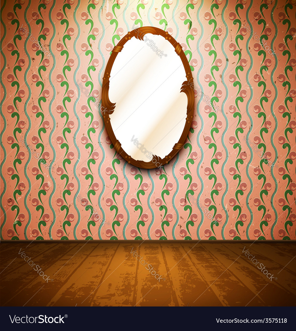 Vintage room with mirror and floral wallpaper vector | Price: 1 Credit (USD $1)