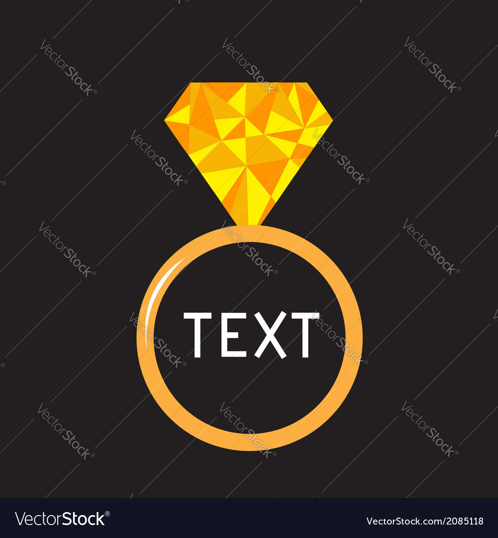 Wedding ring with yellow diamond polygonal effect vector | Price: 1 Credit (USD $1)