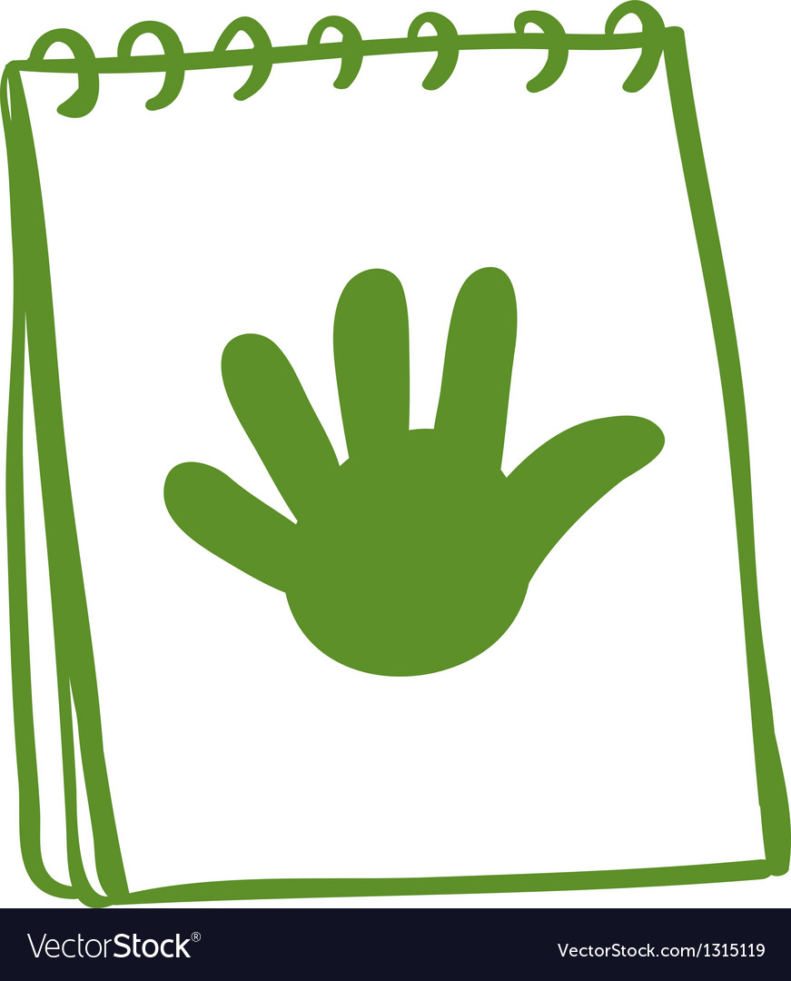 A green notebook with a drawing of a hand vector | Price: 1 Credit (USD $1)
