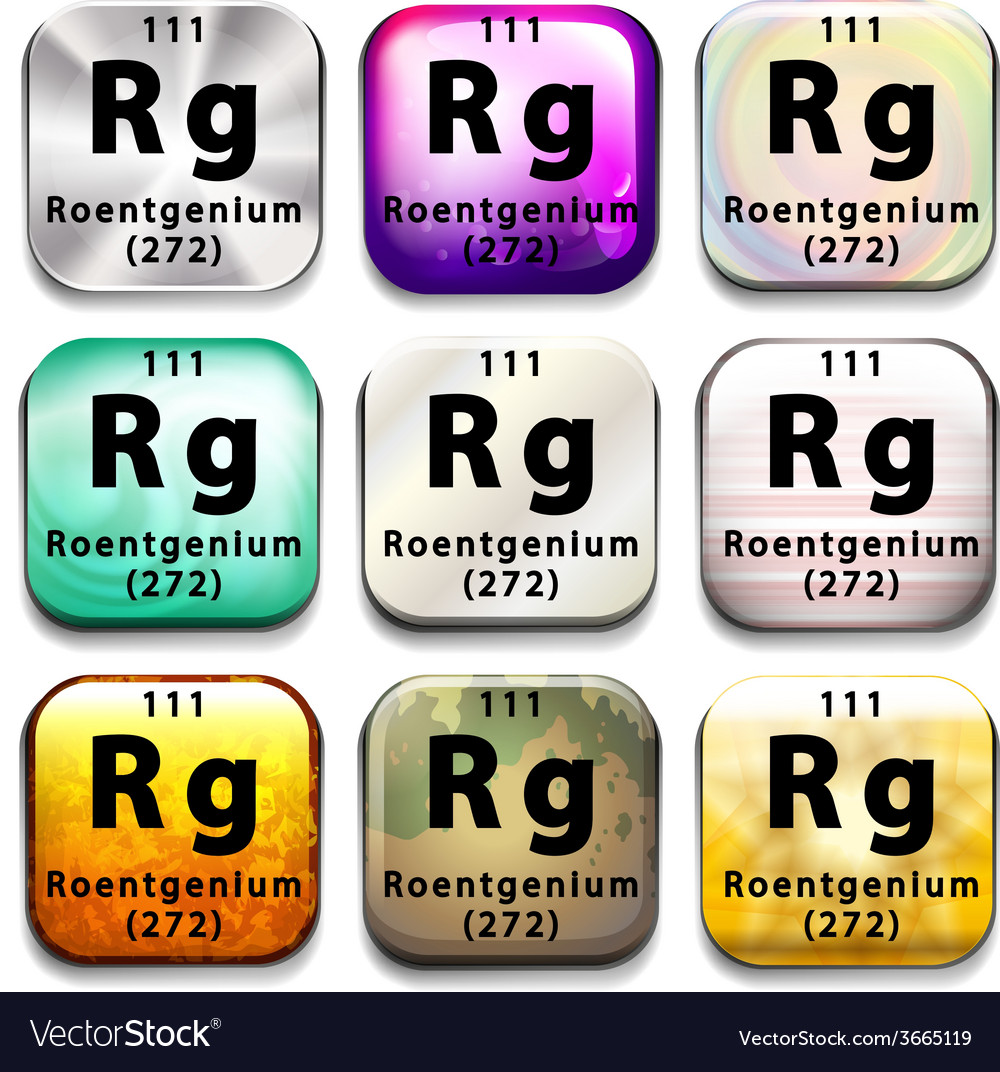 A periodic table showing roentgenium vector | Price: 1 Credit (USD $1)