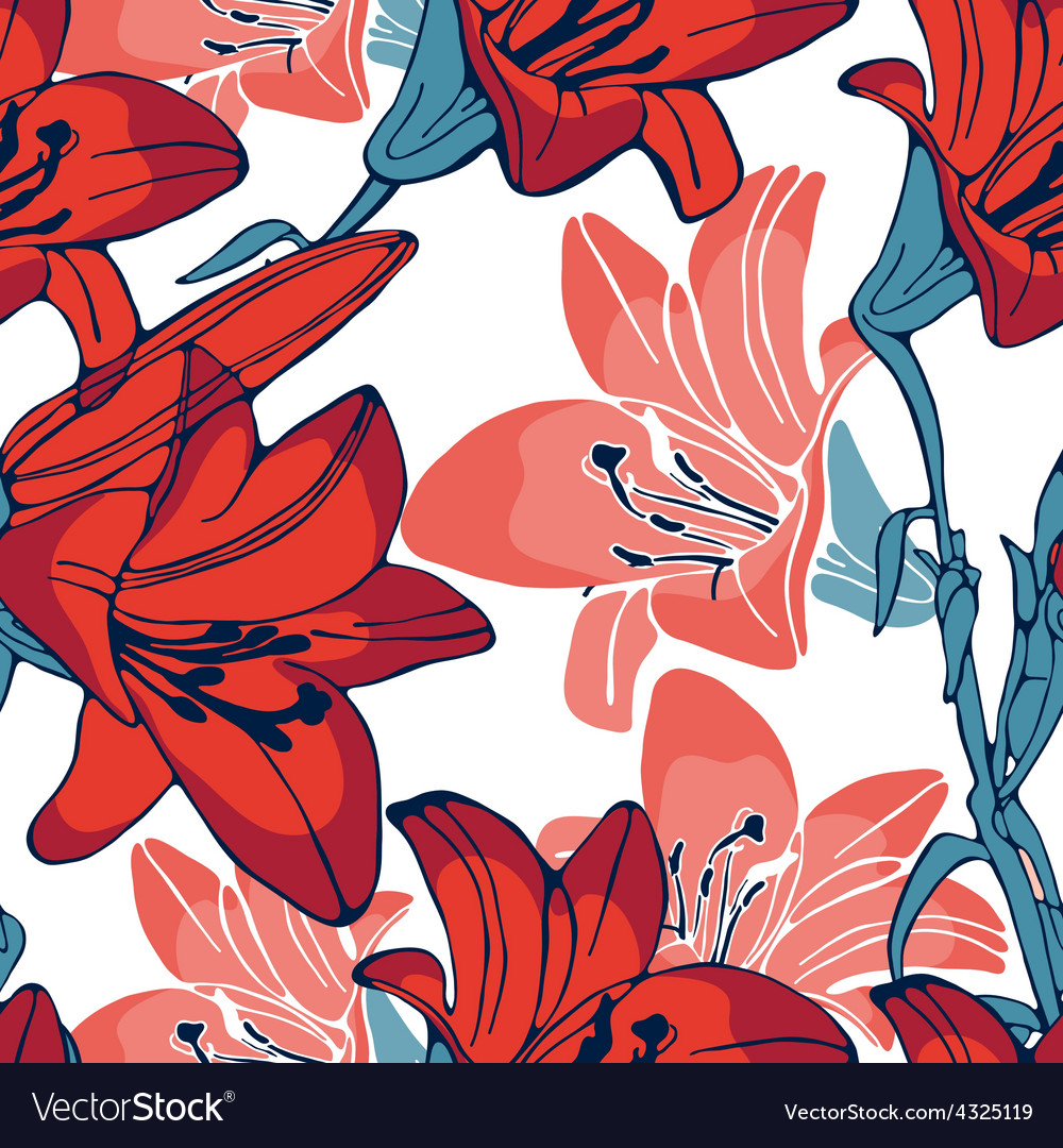 Elegant lilly flowers pattern vector | Price: 1 Credit (USD $1)