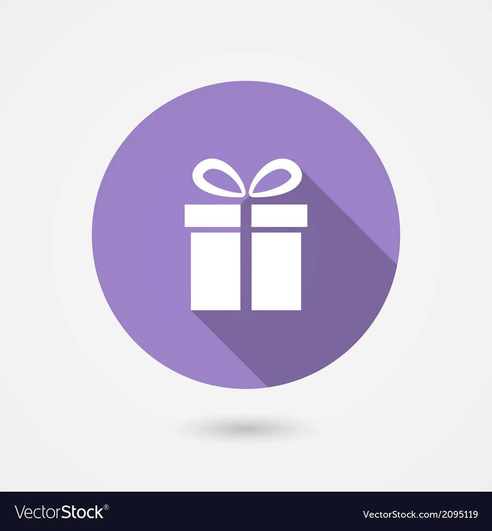 Gift icon with long shadow vector | Price: 1 Credit (USD $1)