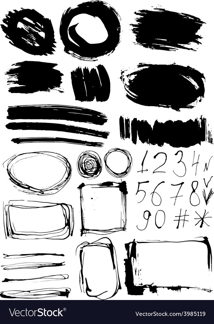 Grunge set of paint stains and numbers grungy vector | Price: 1 Credit (USD $1)