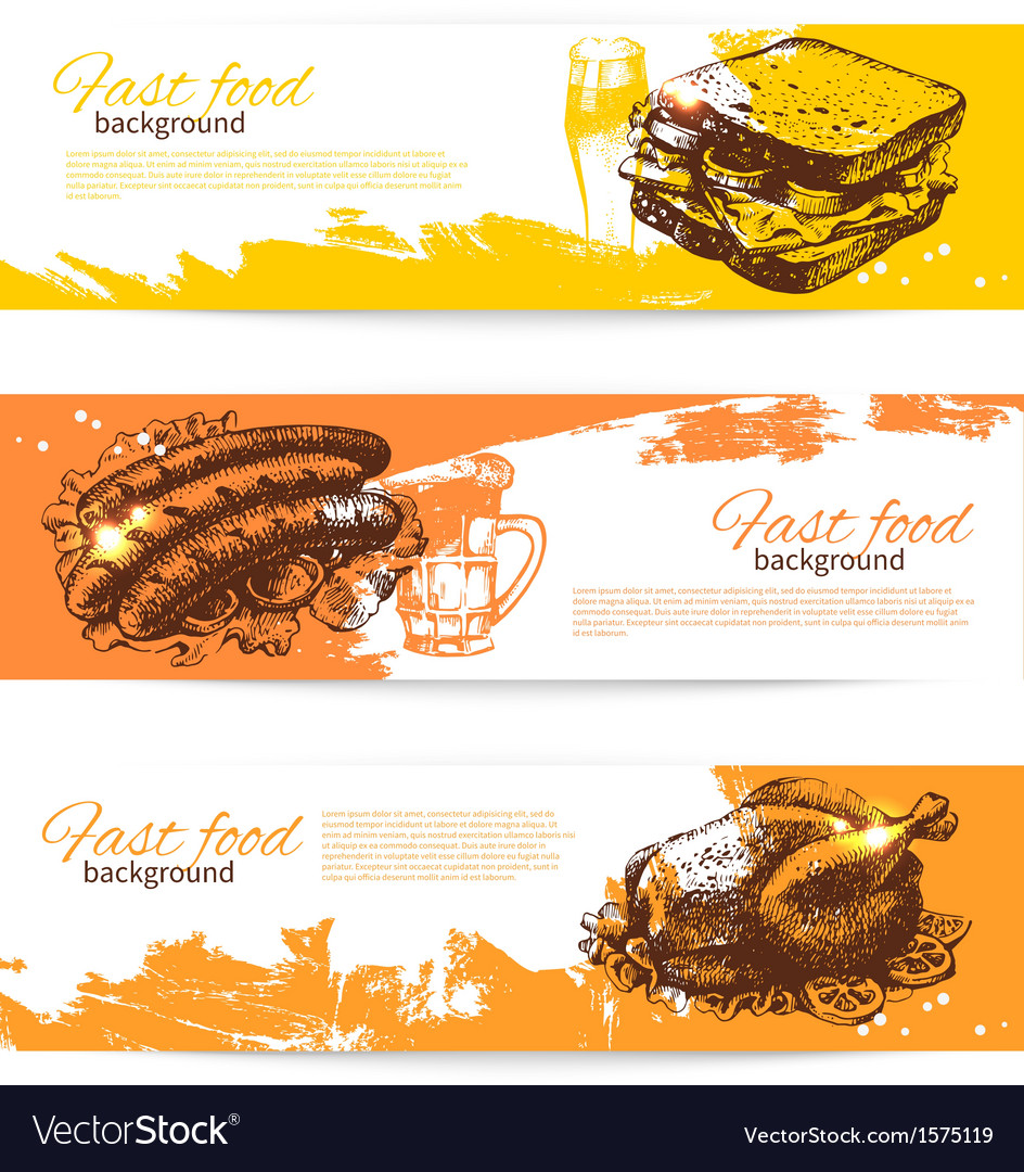 Hand drawn vintage fast food banners vector | Price: 1 Credit (USD $1)
