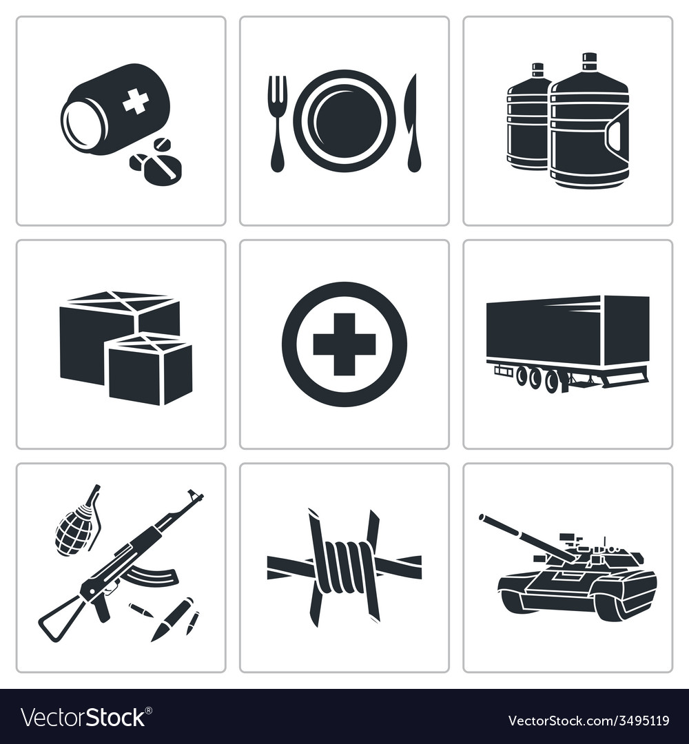 Humanitarian relief icons set vector | Price: 1 Credit (USD $1)