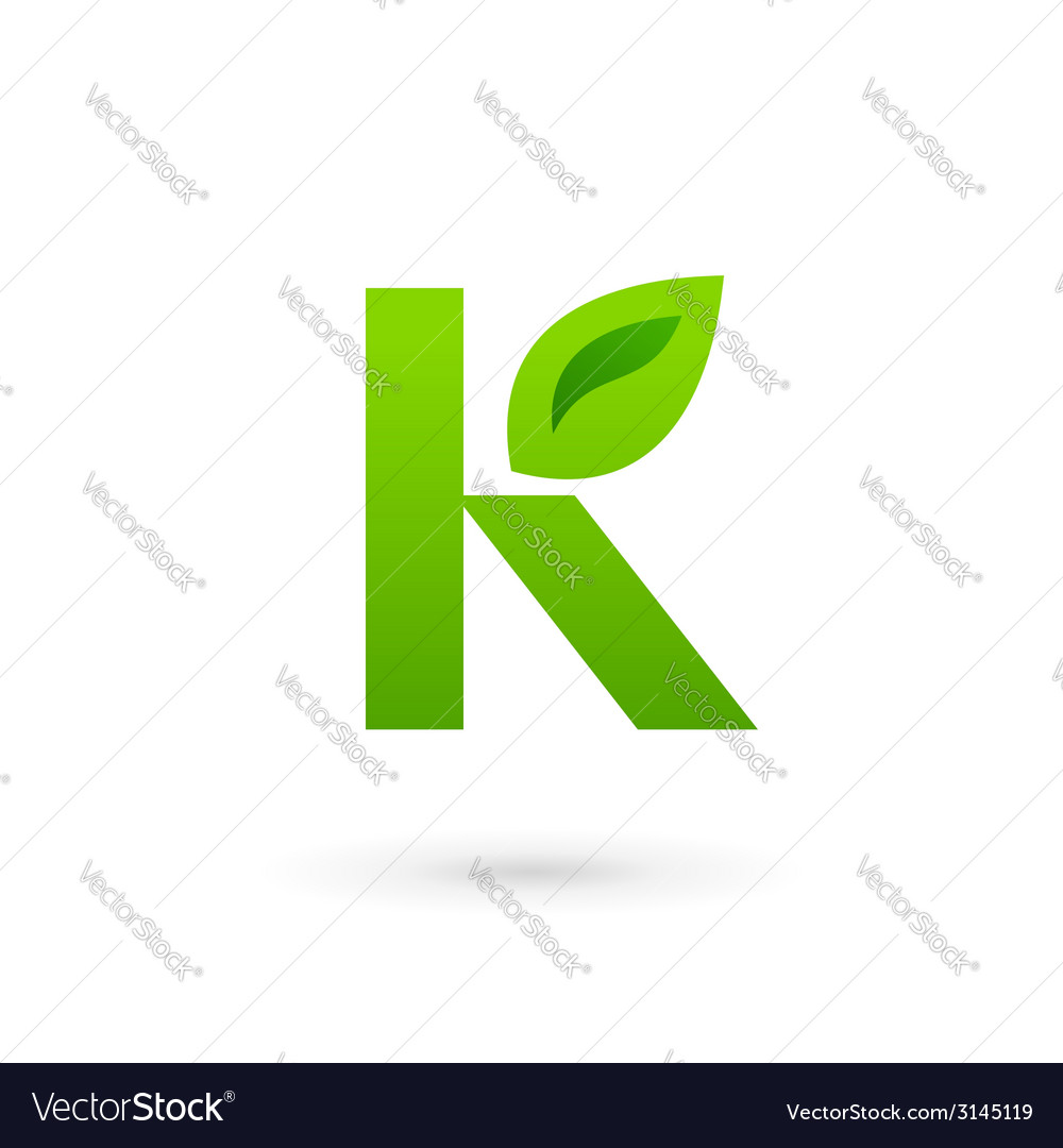 Letter k eco leaves logo icon design template vector | Price: 1 Credit (USD $1)