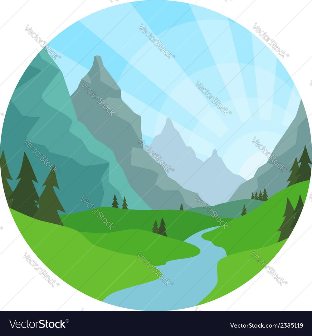 Mountain view background vector | Price: 1 Credit (USD $1)