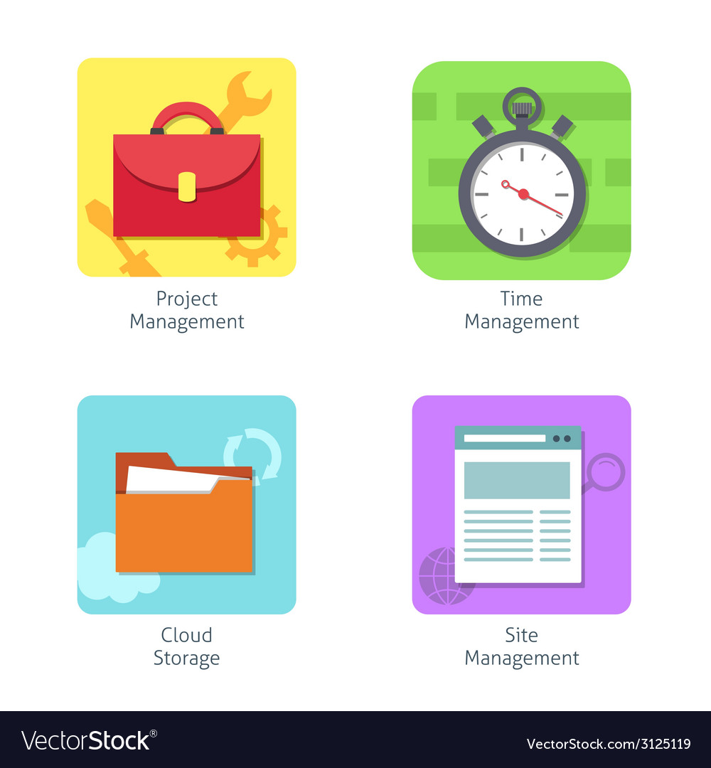 Office management icons set vector | Price: 1 Credit (USD $1)