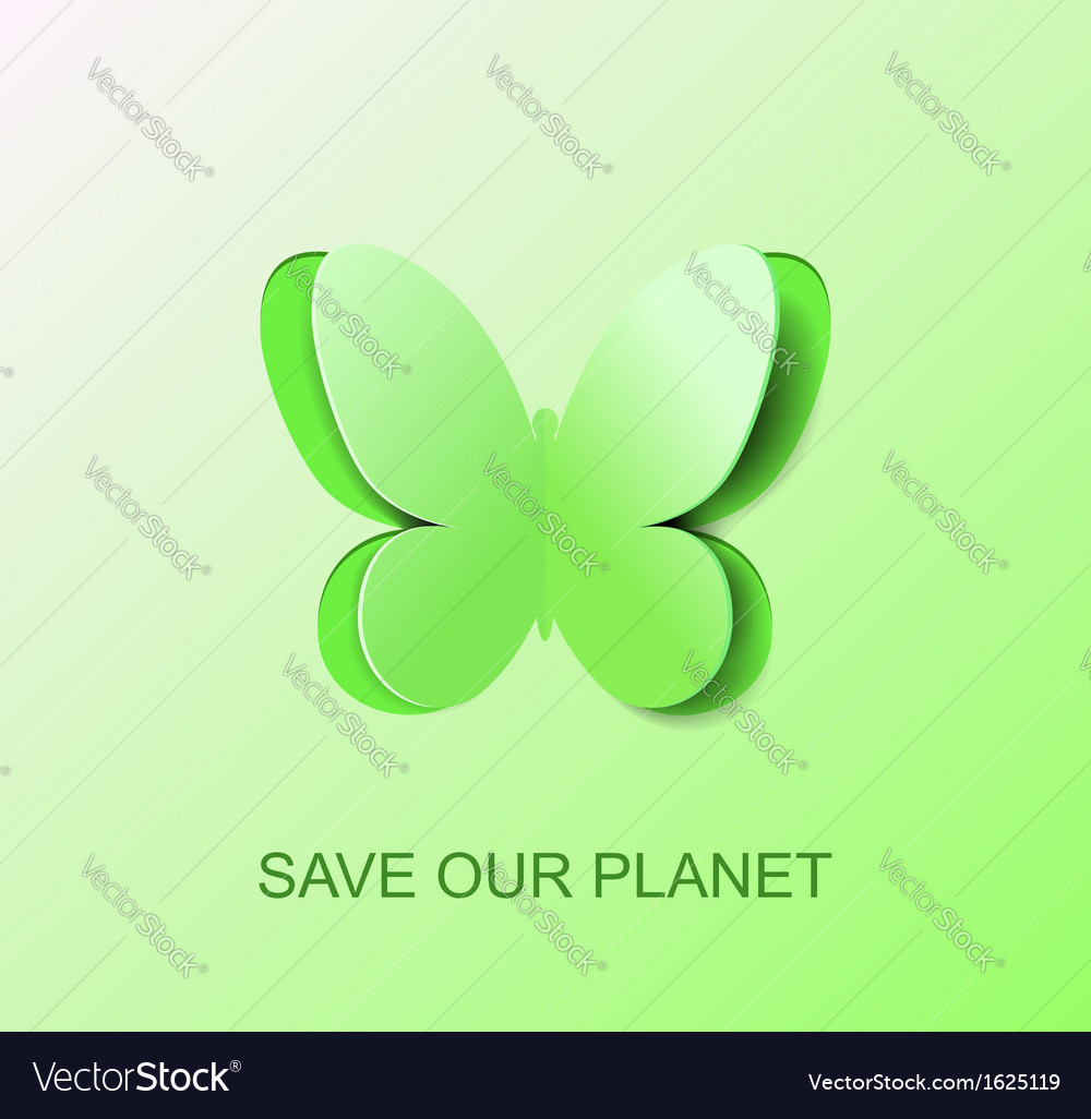 Paper green butterfly a symbol clean environment vector | Price: 1 Credit (USD $1)