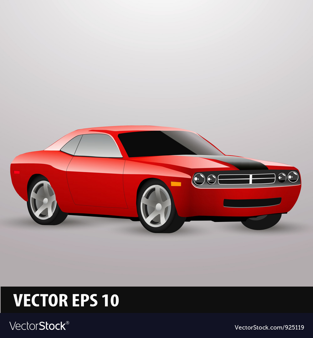 Red american car vector | Price: 3 Credit (USD $3)