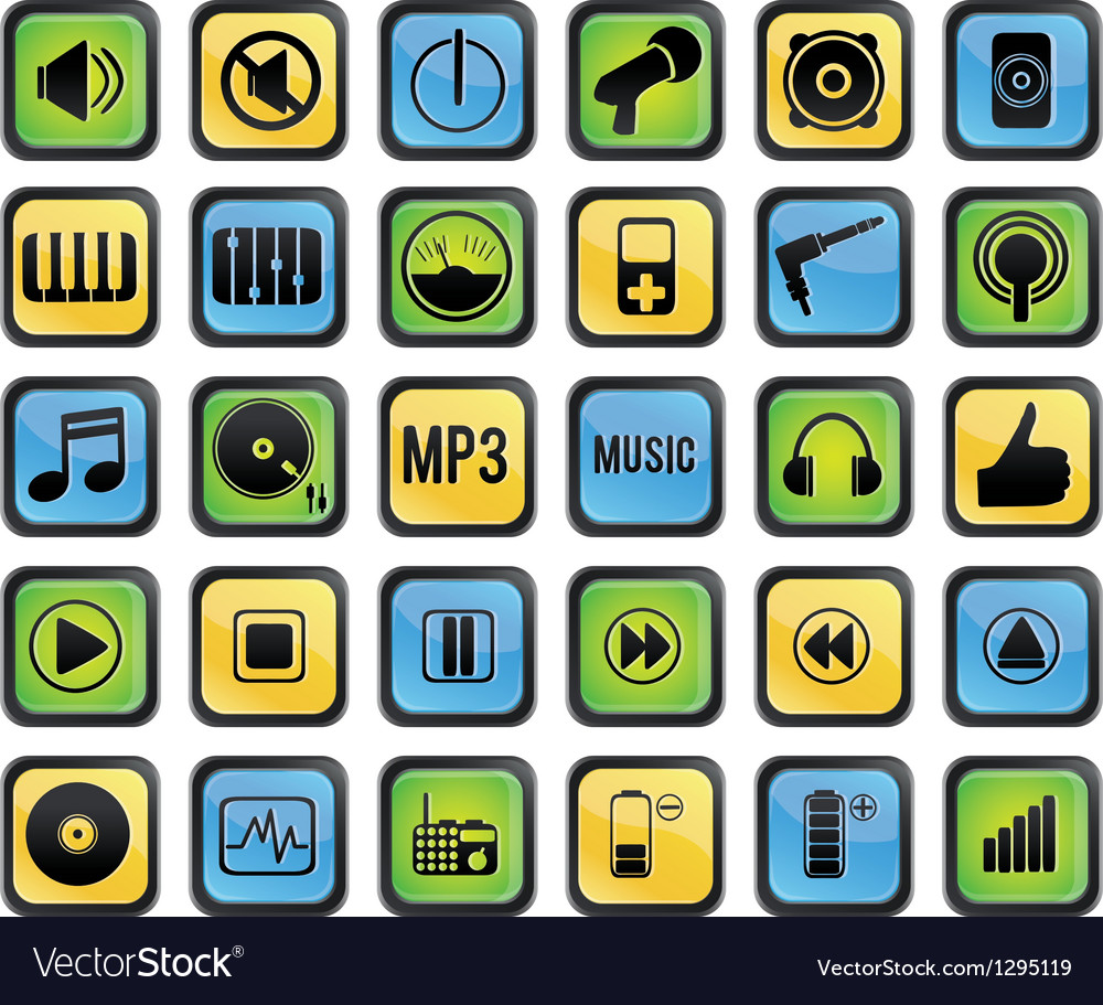Set of media icons vector | Price: 1 Credit (USD $1)