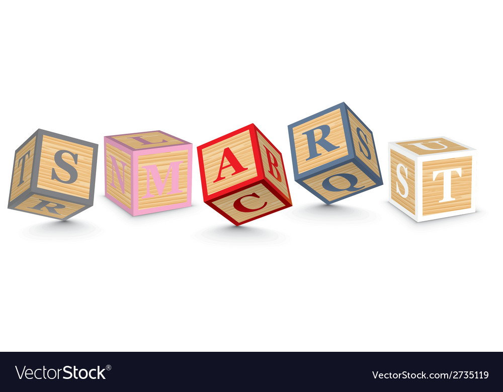 Word smart written with alphabet blocks vector | Price: 1 Credit (USD $1)