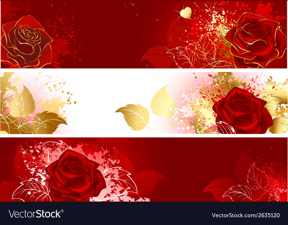 Banners with red roses vector