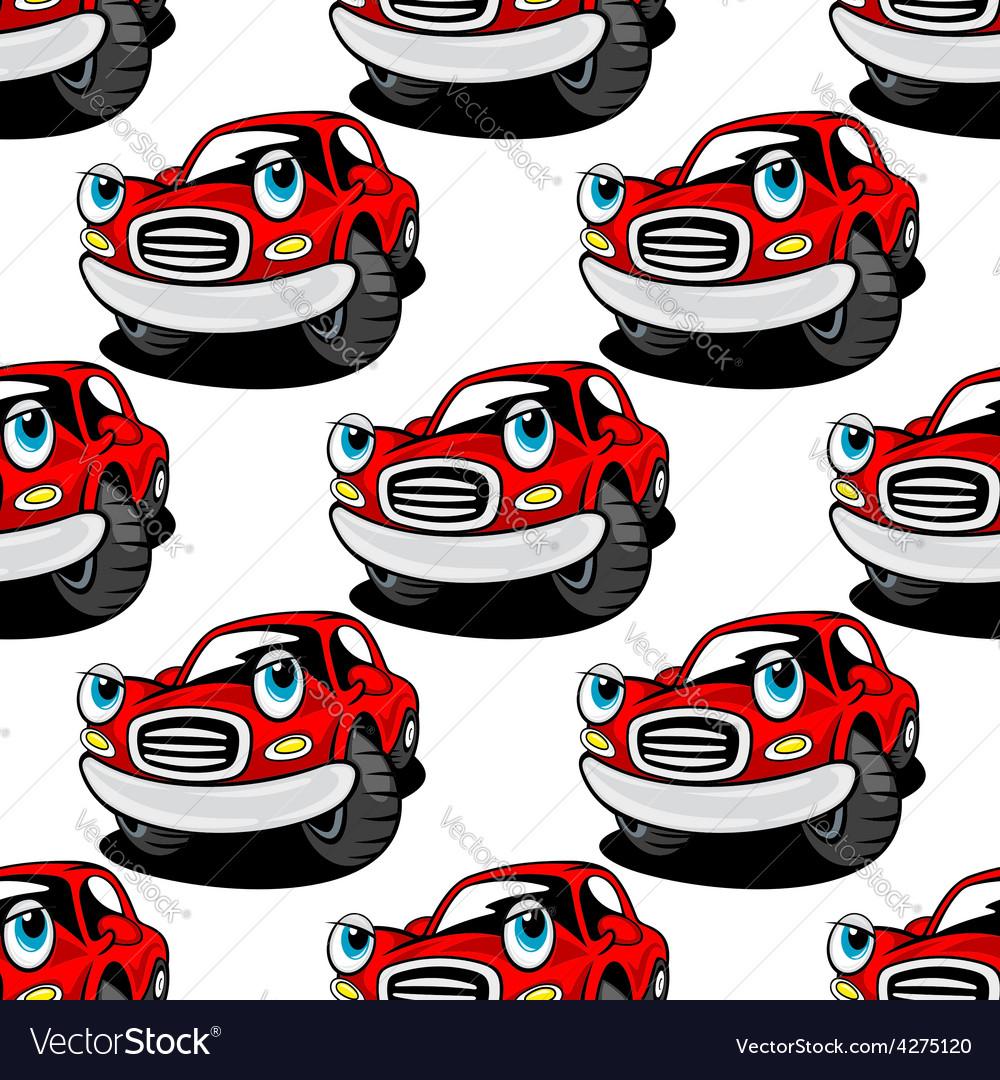 Cartooned cute red car seamless pattern vector | Price: 1 Credit (USD $1)