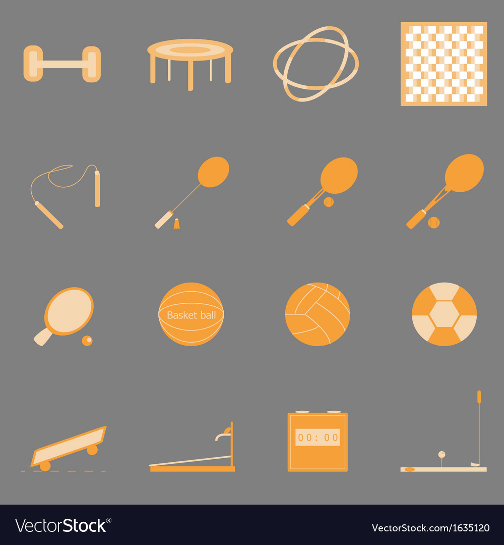 Fitness sport orange color icons on gray vector | Price: 1 Credit (USD $1)